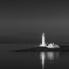 Lismore Lighthouse, black and white