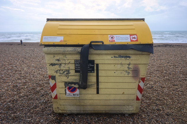 ...otherwise known as a large dustbin right on the beach, Brighton. Perhaps not quite the view of the sea I had in mind.