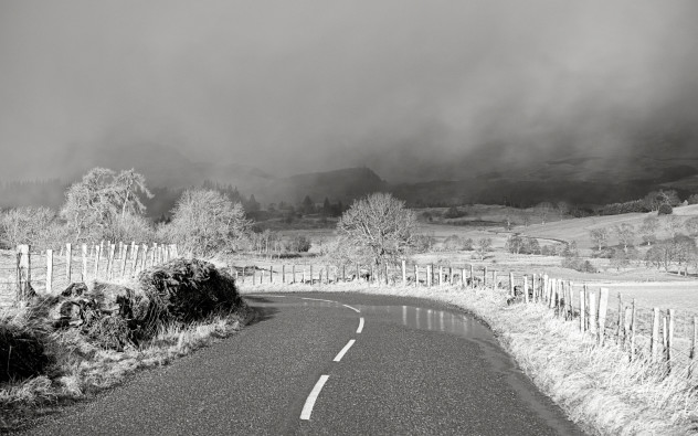 Winter at its finest - alternating phases of gorgeous bright sunshine juxtaposed with clouds of hail passing by in the darker distance.Strathearn, south of Comrie.