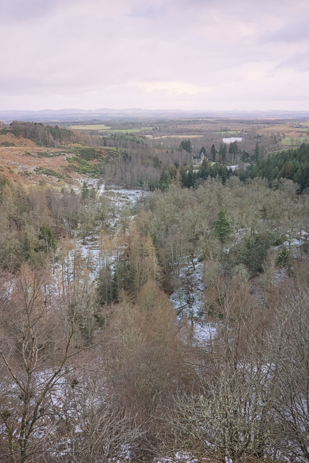 The view from Stair Bridge Viewpoint on Birnam Hill, looking east over Rohallion Lodge to Stare Dam in the distance.  On the left of this shot is Duncan's Hill, in the lowlands; where I was standing is on Birnam Hill, in the highlands.  According to the BGS maps of the area, the Highland Boundary Fault runs more or less straight up the little snow-covered valley in the middle.