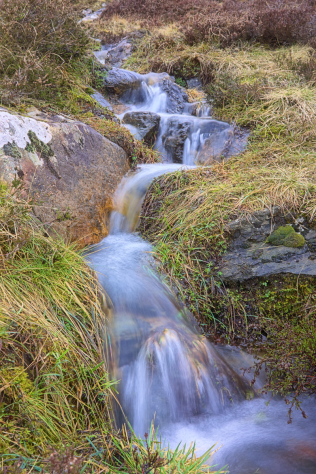 A small burn flowing down the hillside into the Baddoch Burn, Glen Clunie.