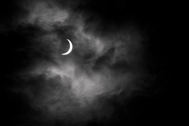 After a lot of driving despairing at the weather, I eventually returned to Dunnottar Castle to find the clouds making the perfect backdrop for the eclipse after all - even more dramatic than I'd hoped for.