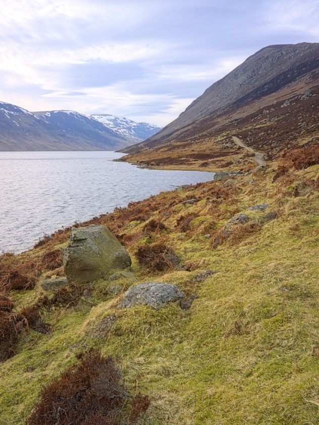 The path leading alongside Loch Turret into the distance