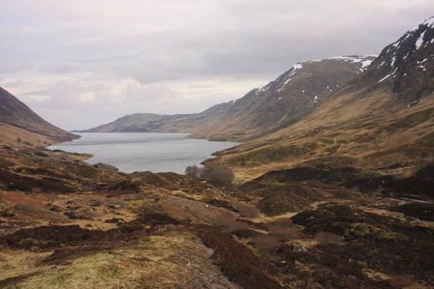 Glacial morraine hillocks and the craggy foothills of Meall na Seide and the Corie nan Columan along the west side of Loch Turret