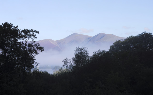 Skiddaw in the Mist:  One of the islands in Derwentwater and the wonderful lumps of Skiddaw in the distance, early one morning as the mist evaporated.