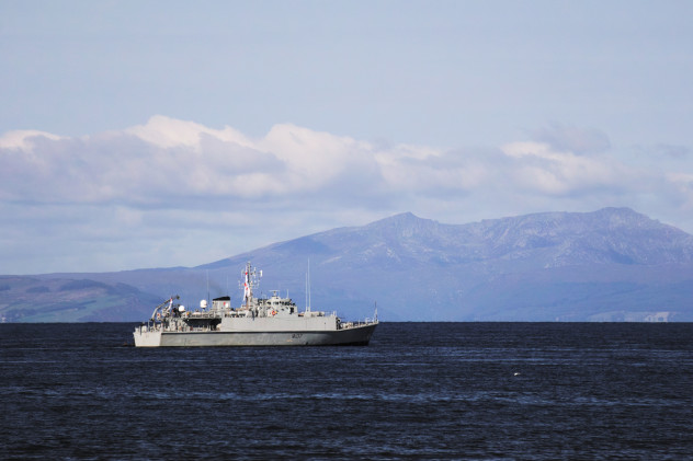 HMS Pembroke off the coast at Ayr, in preparation for a simulated storming of the beach.