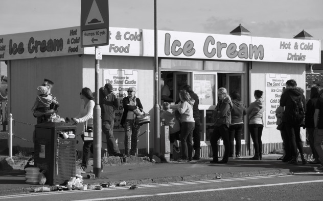 Ice-cream stand and litter...