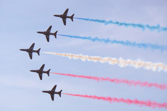 Part of the Red Arrows' display over Ayr, September 2015.