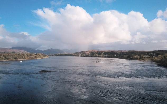 Quite a race - the tide was coming in quickly over the Falls of Lora. Distant precipitation over Ben Cruachan from Connel Bridge.