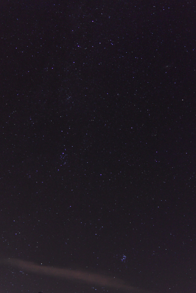 The Pleiades rising over the Carse of Gowrie from Easter Rhynd outside Perth.