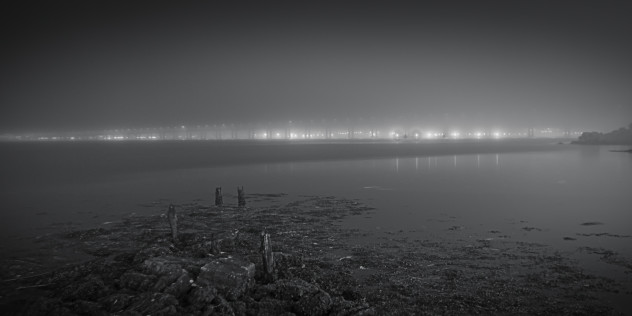Lights in the mist - the Tay Bridge from Newport-on-Tay looking towards Dundee, on a dark foggy evening