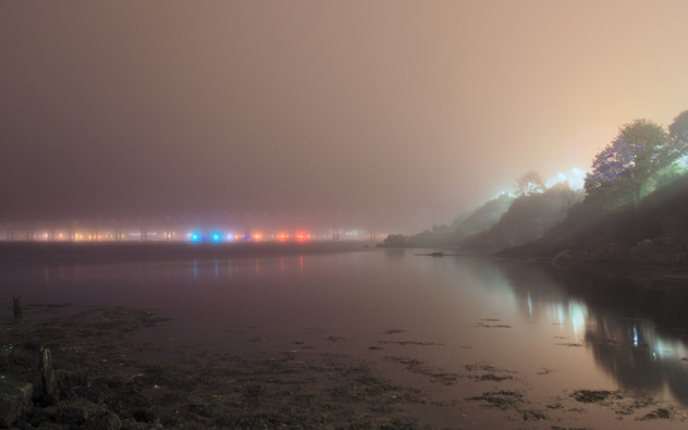Artificial lights - streetlights and lights on the Tay Bridge reflecting in the River Tay, mixing in the fog