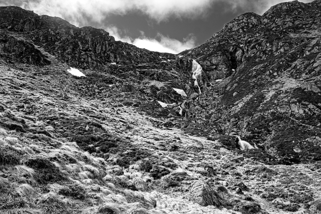 The burn tumbling down Corrie Fee