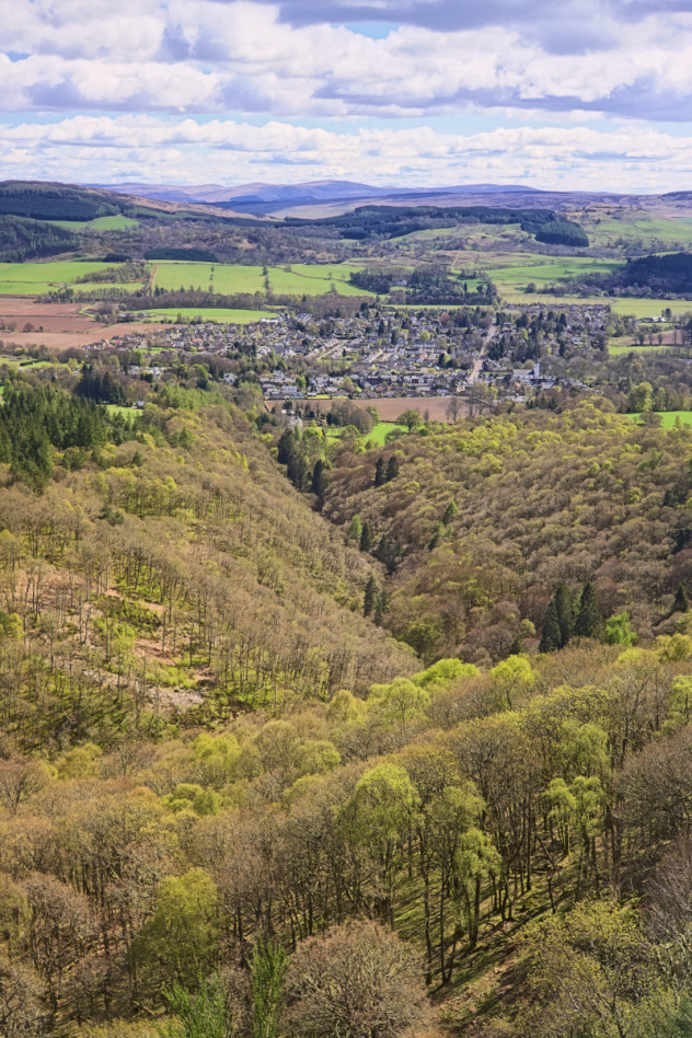 Comrie from Melville's Monument up Glen Lednock above the village.