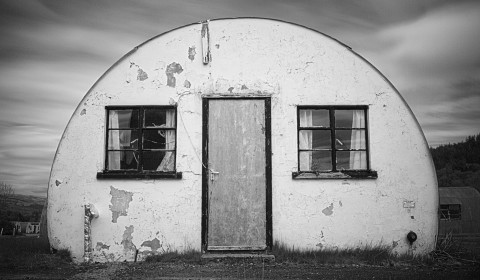 End-on view of one of the Nissen huts at Cultybraggan Prisoner-of-War camp.