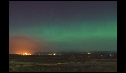 Ringing-in the New Year with fireworks in Crieff from Auchterarder... with an aurora arching overhead.