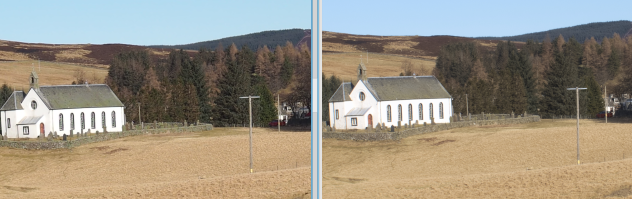 In-camera JPEG conversion (20MPel) vs RawTherapee downscaled from 80MPel RAW