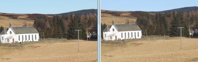 In-camera JPEG conversion (20MPel) vs RawTherapee downscaled from 80MPel RAW
