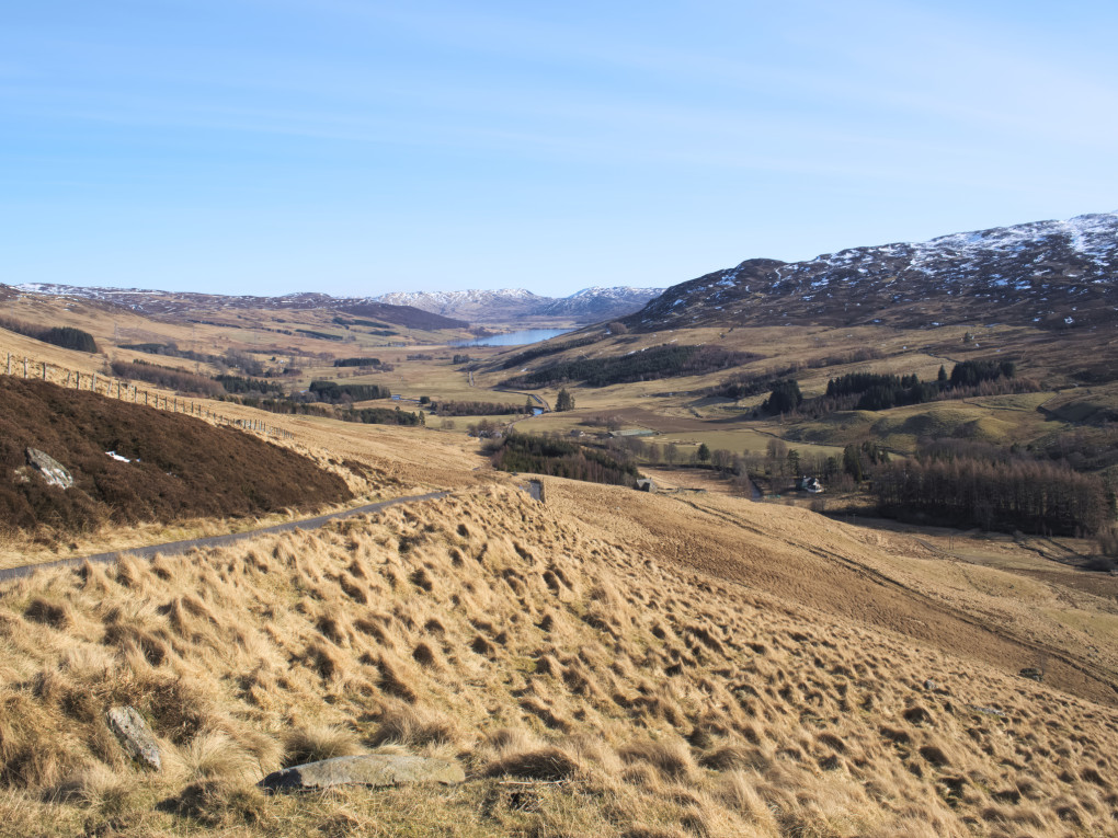 A classic view from up the steep ascent above Glen Quaich, looking back down to Loch Freuchie in the distance.