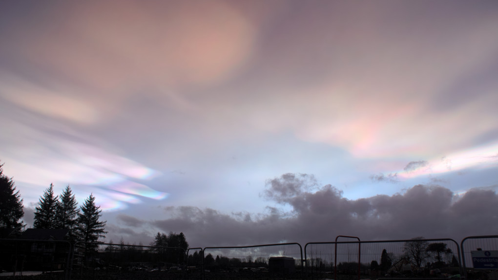 Nacreous clouds at the beginnings of sunset