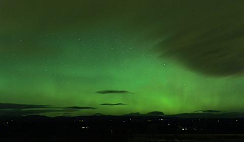 I heard through friends, just in time - there was a brilliant display of aurora kicking-off this evening, with bright pillars visible as I set out.  There I was, wondering how well the Olympus Pen-F would capture it... Never expected to have such an opportunity within just a week already!