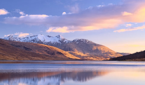 Snow remaining on the tops of Ben Cruachan - a moderately long exposure at the head of Loch Etive at optimum sunset.