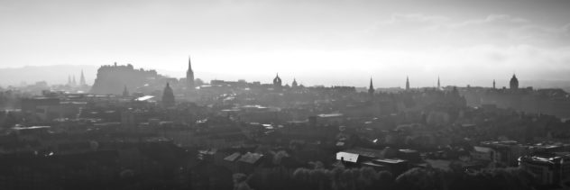 An extract from a panorama taken around Edinburgh, looking almost into the sun on a hazy late evening - just before the fog rolled in