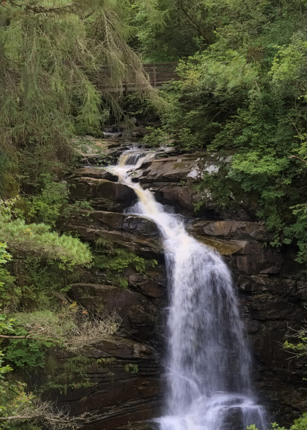 Looking across the gorge to the main waterfall in the BIrks of Aberfeldy