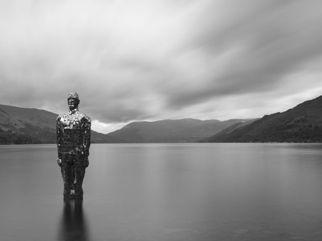 A well-known scene: Robert Mulholland's sculpture, 'Still', in the shallows of Loch Earn at St Fillan's. It was a dull cloudy day, so no much dramatic light to write home about - but I liked it all the more for being dull and lending itself to long exposures.