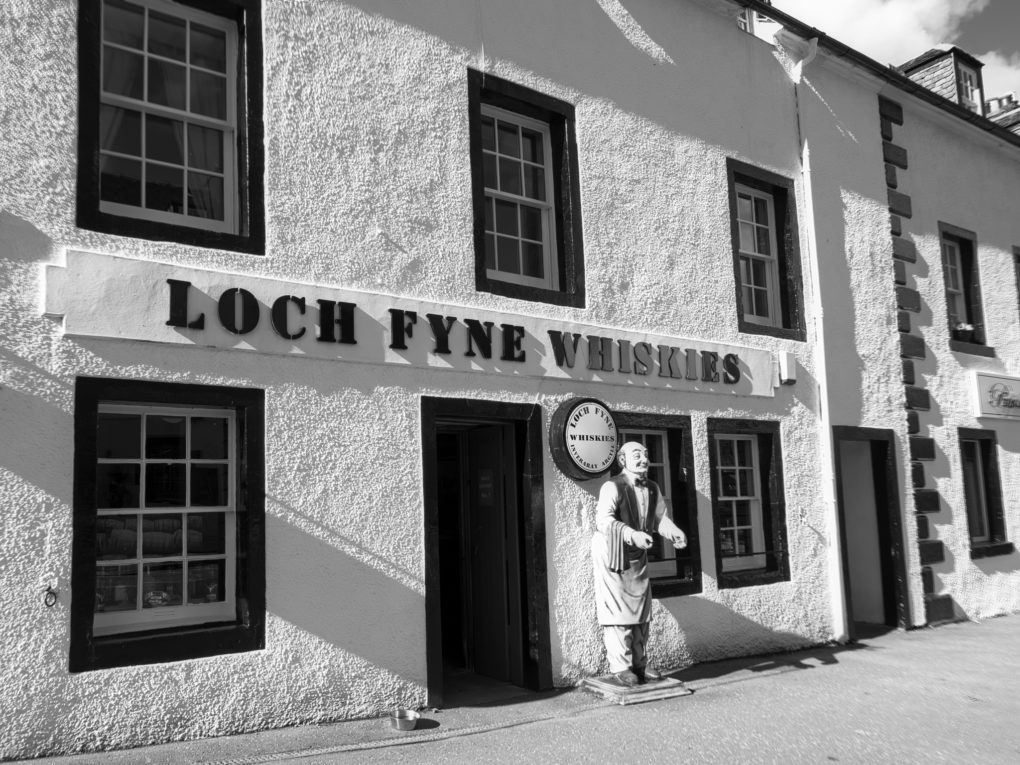 One of my favouite shops - Loch  Fyne Whiskies in Inverary.The shop-keeper is a class act. First he asks what you like (Glen Turret) and how much you want to pay. He gives you three to choose from: one that's the same taste profile but more-so; one that ends-up sprayed on the opposite wall (a Speyside); and finally the one that you leave with, that costs just that little bit more than you said...