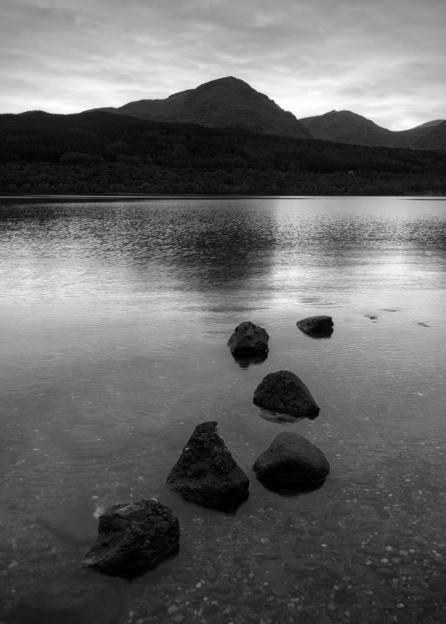 The Arrochar Alps across Loch Lomond, from Inversnaid.  That leading line of submerged boulders was just too tempting...