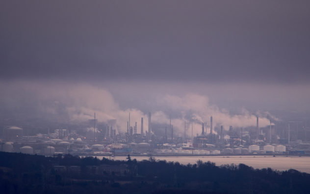 Refinery on the horizon, taken from the Mill Glen at Tillicoultry - l;ooking south on a very dull day.