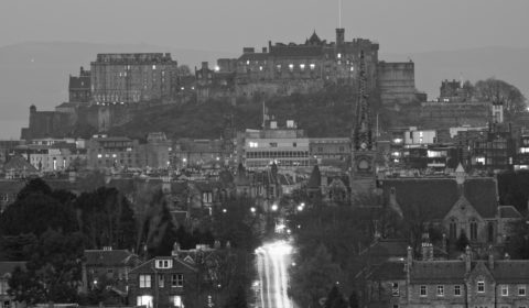 Changing light as dusk falls over Edinburgh city centre, from Blackford Hill by the Observatory.