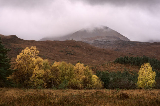 Grey and grey - low cloud and the steep north side of the mountain beyond