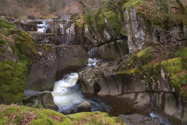 Detail of the Keltie Water flowing through diamicton till rockery, Bracklinn Falls outside Callander