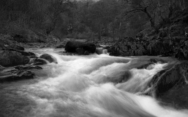 The Keltie Water about to flow over Bracklinn Falls, outside Callander.