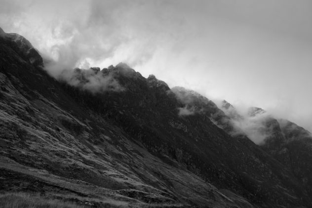 A craggy ridge along Beinn Fhada from the obvious carpark across Glencoe