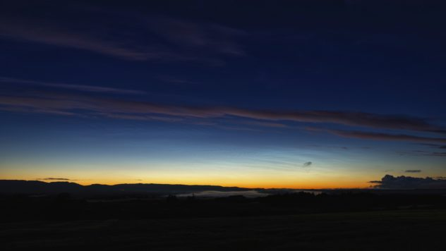 Some ordinary wispy cloud; some mist in the early stages of rising over Strathearn; and a noctilucent (night-shining) cloud (NLC) display.