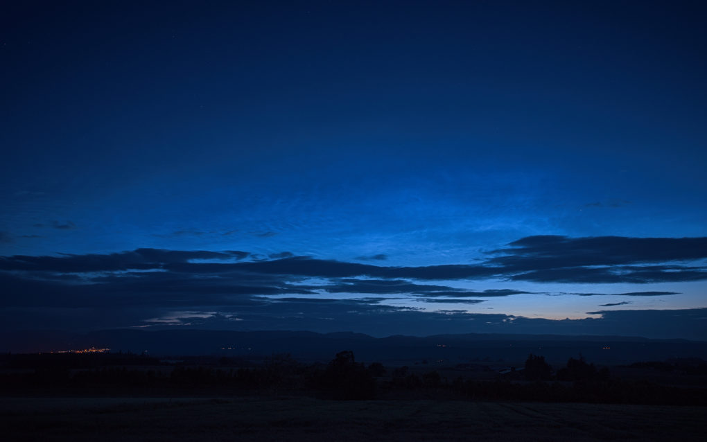 Noctilucent Clouds, around 1am - Crieff across Strathearn from Auchterarder