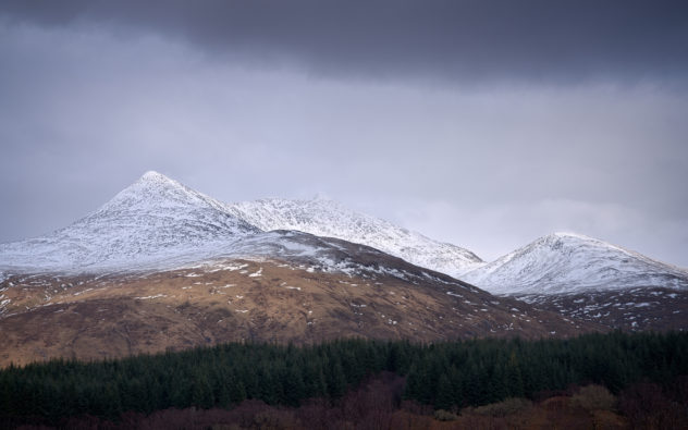 Ben Cruachan dominates the landscape around - this was taken from Glen Nant looking over the trees to the snow-capped mountain beyond
