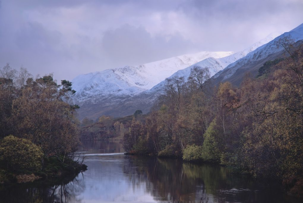 The River Affric flowing among the lower slopes of Sgurr na Lapaich