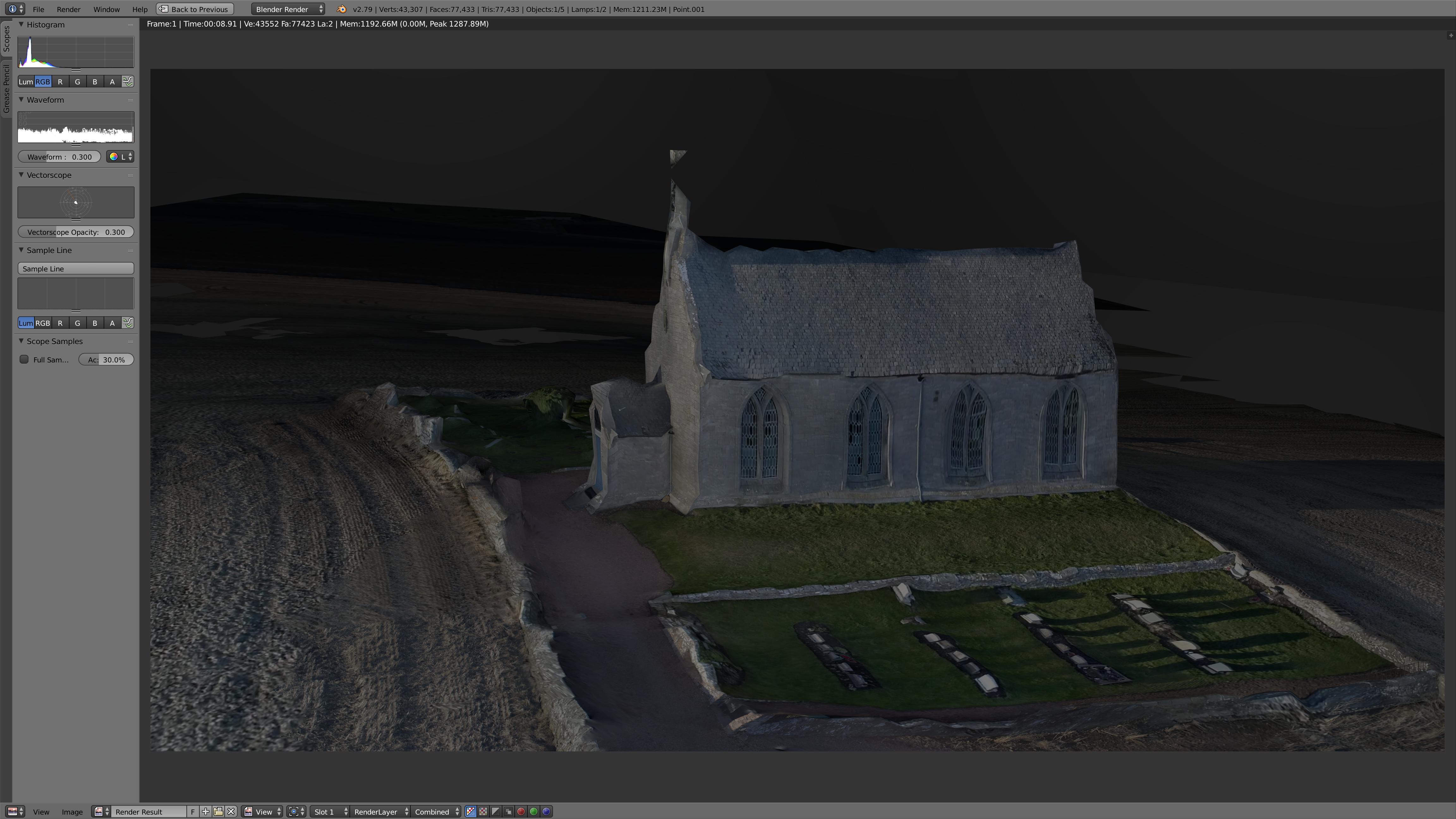 Boarhills Church, East Neuk, Fife - 3D model rendered in Blender