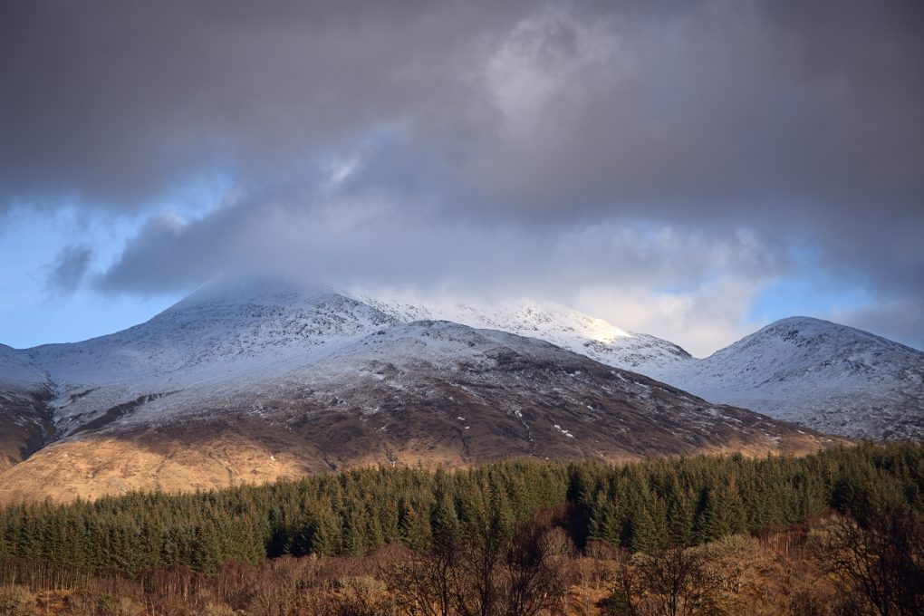 A snow-capped Ben Cruachan from Glen Nant