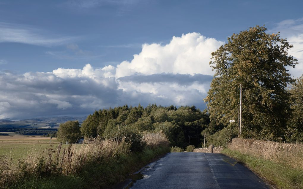 A pleasant yet dramatic fluffy cloud above the B8062 road out of Auchterarder,