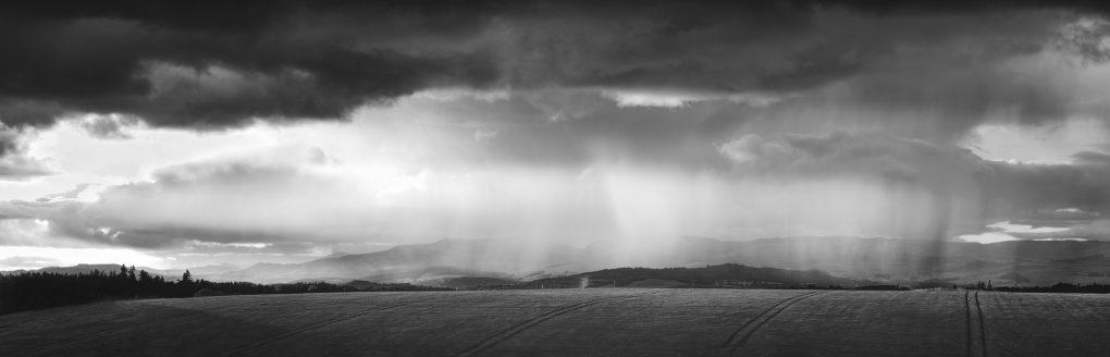 Rain falling over Crieff, Strathearn.